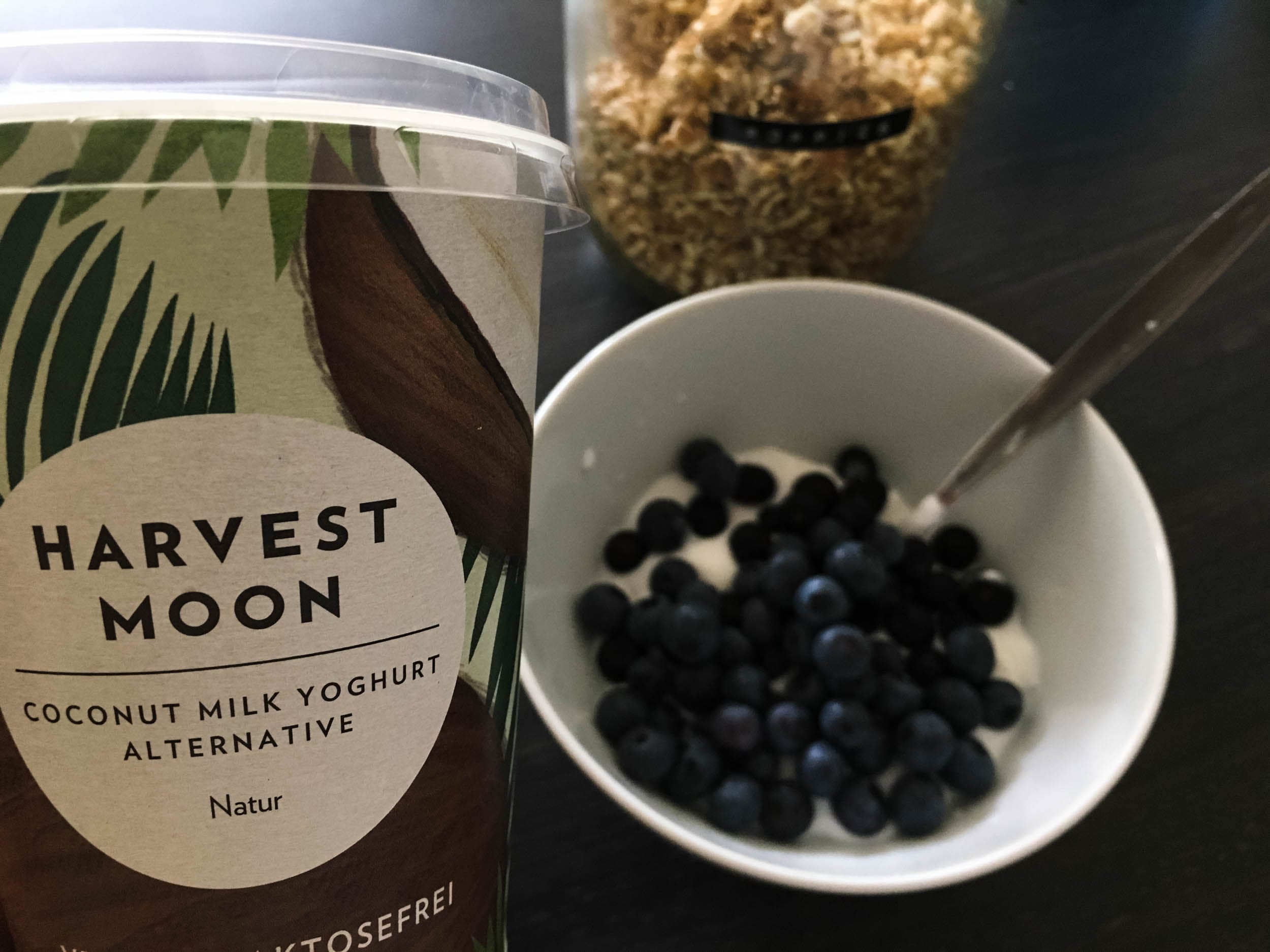 Kokosjoghurt von Harvest Moon mit Blaubeeren | ivy.li