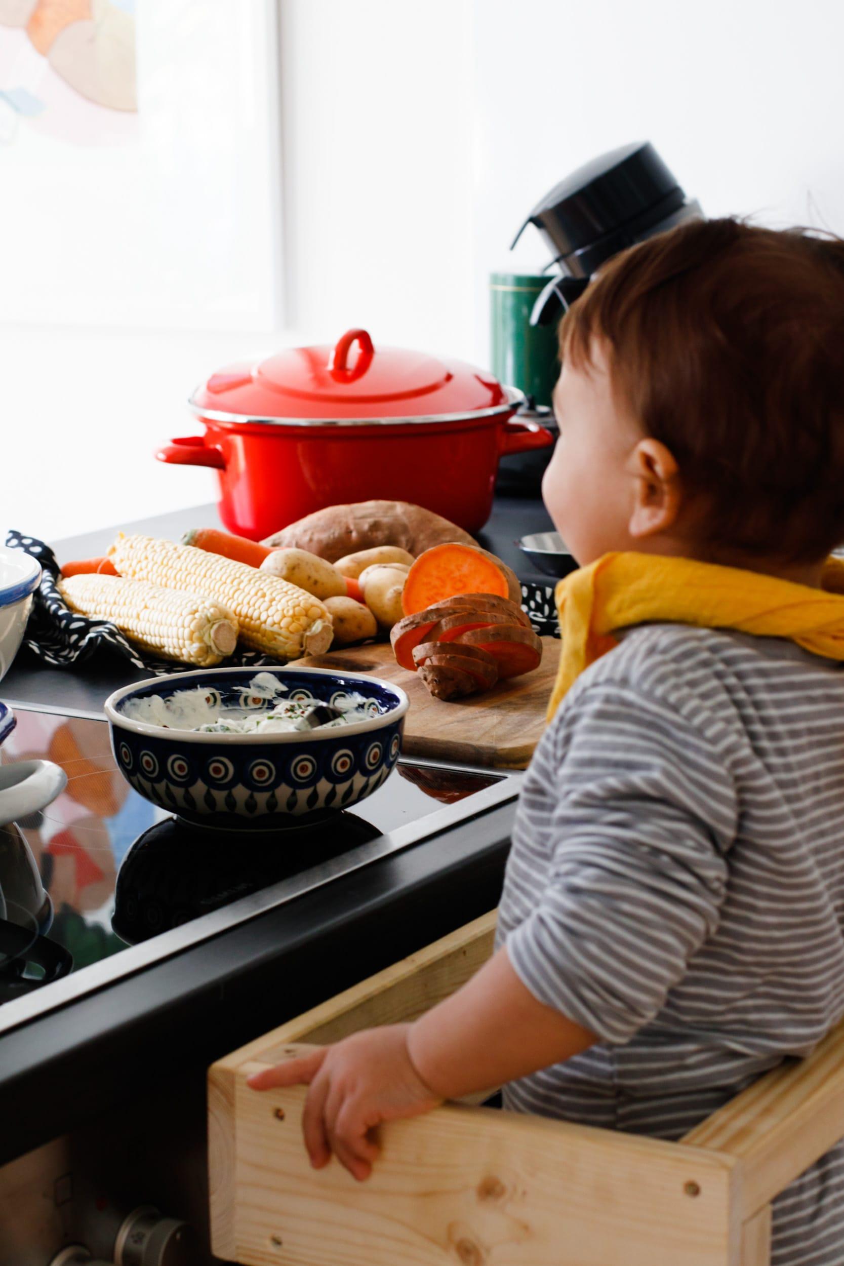 Kochen mit Kindern | Lernturm | Ofengemüse mit Kräuterquark | ivy.li