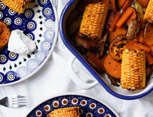 Eine gesunde Mittagsmahlzeit für Kinder | Ofengemüse mit Kräuterquark | Rezept | ivy.li