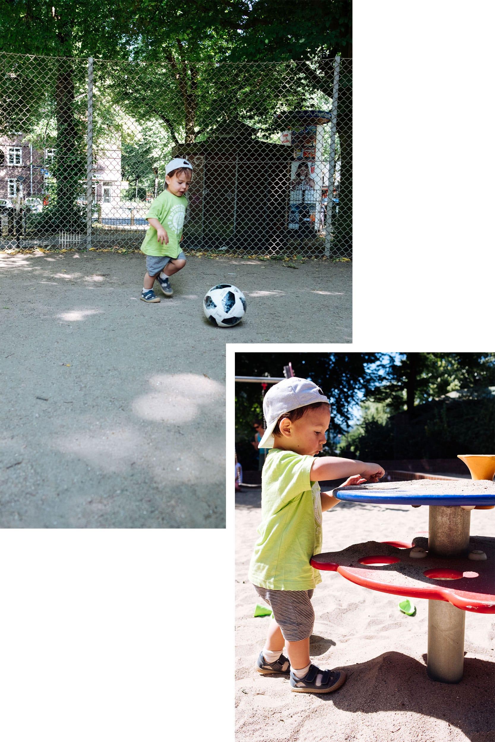 Familiensonntag | Unterwegs mit Fußball und Laufrad | Familienleben | Spielplatz Goldbekplatz